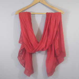 Lucky Brand Orange Scarf w/ Lace Trim